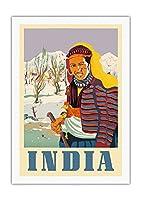 インド - カシミールのネイティブ女性 - ビンテージな世界旅行のポスター c.1950s - 美しいポスターアート