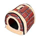 NOPTEG ペット ハウス ドーム型 犬猫 ベッド 折りたたみ式 ペットベッド 室内用 中敷き付き (M, レンガ模様)