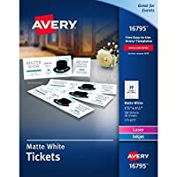 Avery Matte White Printable Tickets with Tear-Away Stubs 1-3/4 x 5-1/2 Pack of 500 (16795) [並行輸入品]