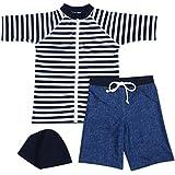 【Babystity】 男の子 水着 UPF50+ ボーダー柄 ラッシュガード 帽子 デニム柄 パンツ 80〜120cm(3点セット 90cm)