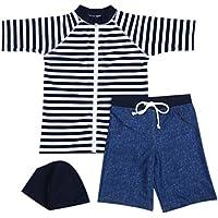 【Babystity】 男の子 水着 UPF50+ ボーダー柄 ラッシュガード 帽子 デニム柄 パンツ 80?120cm
