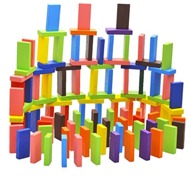 Dovewill 木製 120個 12色 教育玩具 ドミノ 親子プレー 家族ゲーム 児童 積み木 眼と手の能力を訓練 贈り物
