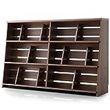 本棚 マンガ収納 スライド&ディスプレイ ブックエンド 木製 リアル木目 ワイドタイプ 幅120 下段 単品 ウォルナット