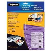 Fellowes Laminator Pouches, Starter Pk 3mil、52/PK, Asstdサイズ、クリア