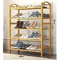 5ティア靴ラックソリッドウッドシューズ - 多機能ストレージシェルフキャビネット家具竹オーガナイザーシェルフ(L)50/60 / 80x(D)26x(H)90cm (サイズ さいず : 80cm)