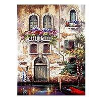 現代抽象アートワーク - 手は壁の装飾のためのイタリアのキャンバスアートに風景ドア庭園油絵を描い,36x48in