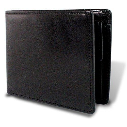 [栃木レザー] マチ付き二つ折り財布 財布 本革 日本製 札入れ 多収納 4〇〇3355 (black)