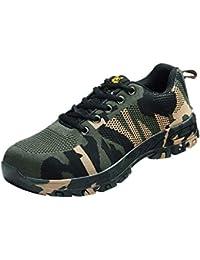 B Baosity 迷彩 安全作業靴 防護靴 ワークブーツ スチールトウ 産業建設用 重工業用 通気性 滑り止め 全7サイズ - 255mm