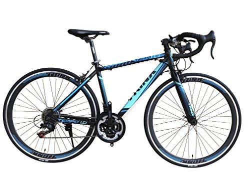 TRINX(トリンクス) 【ロードバイク】 入門用 補助ブレーキ付き Shimano21速 エントリーモデル700C 軽量 アルミフレーム TEMPO-17 TEMPO-17 ブラック/ブルー 500mm