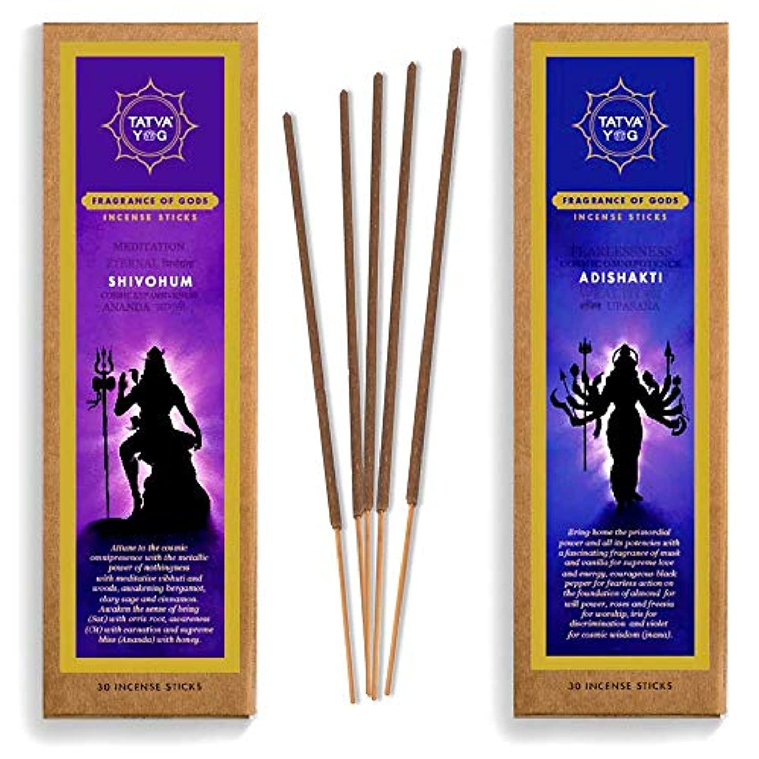 驚かすひばり放射性Tatva YOG Adishakti and Shivohum Handcrafted Natural Masala Incense Sticks for Daily Pooja|Festive|Office|Home...