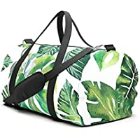 Jungle Leaves, Banana, Monstera Travel Sport Barrel Duffle Bag