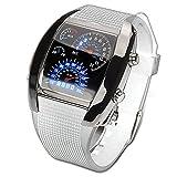 iimono117 スピードメーター風デジタル腕時計 / スポーツタイプ腕時計 LED スピードメーターデザイン タコメーター クォーツ 男性用 メンズ 腕時計 スタイリッシュ ファッション デジタルウォッチ (ホワイト)