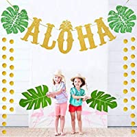 Hawaiian Aloha Party Decorations Large Gold Glittery Aloha Banner For Luau Party Supplies Favours