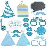 BESTOYARD ハッピーバースデーキラキラ写真ブースの小道具ひげメガネカップケーキホイッスルハットの黒板パーティアクセサリー誕生日パーティ装飾用品(青)18個
