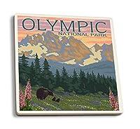 オリンピック国立公園–Bear Family and Spring Flowers 4 Coaster Set LANT-11266-CT