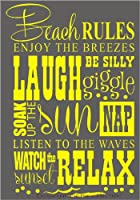 Wall Decor Plus More Beach Rules Subway Art Phrases and Quote Wall Sticker 23x15 Yellow Yellow by Wall Decor Plus More