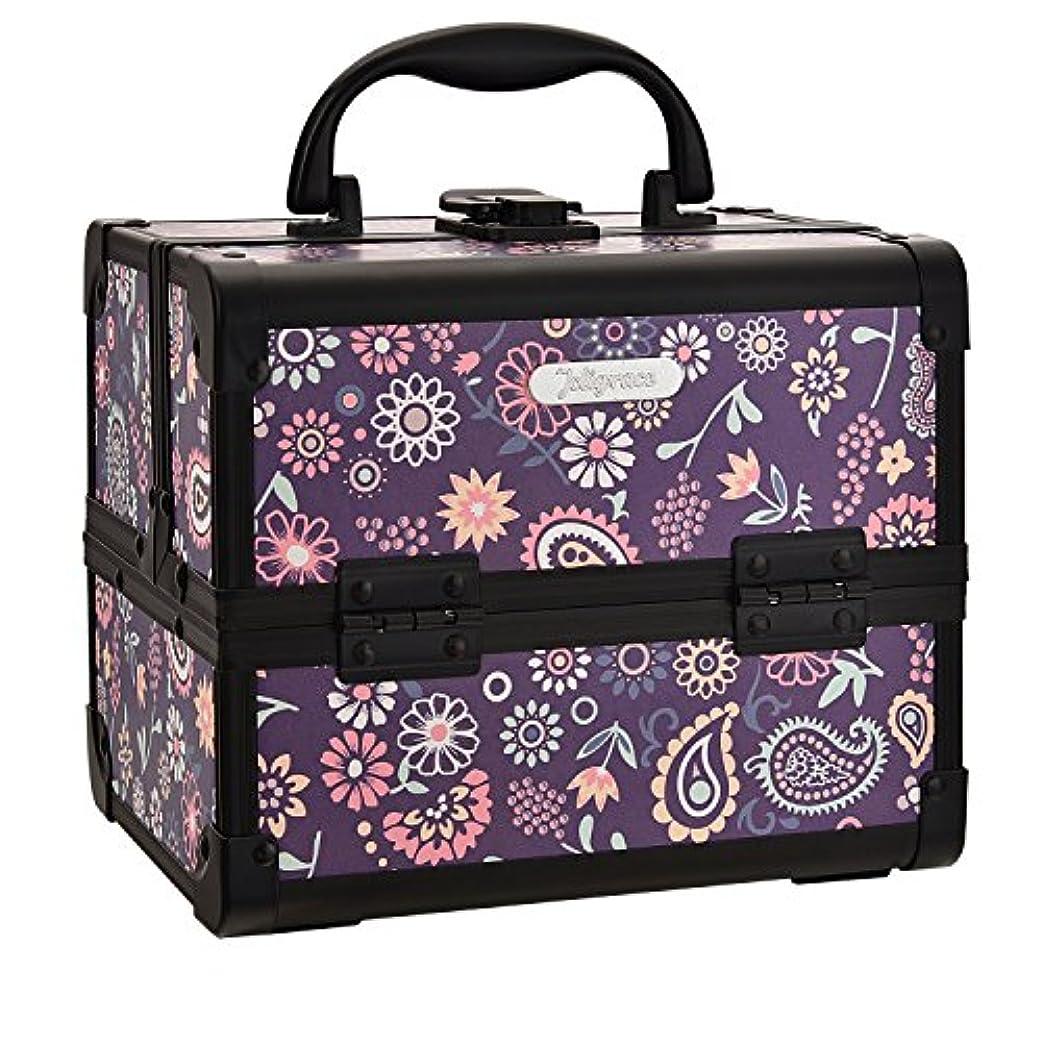 不適軽減相手Hapilife コスメボックス 鏡付き スライドトレイ メイク用品収納 プロ仕様 小型 化粧箱 ピンク(紫の花)