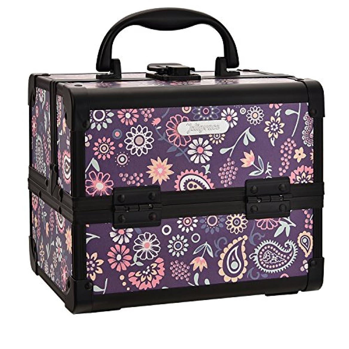 抹消ネコ一次Hapilife コスメボックス 鏡付き スライドトレイ メイク用品収納 プロ仕様 小型 化粧箱 ピンク(紫の花)