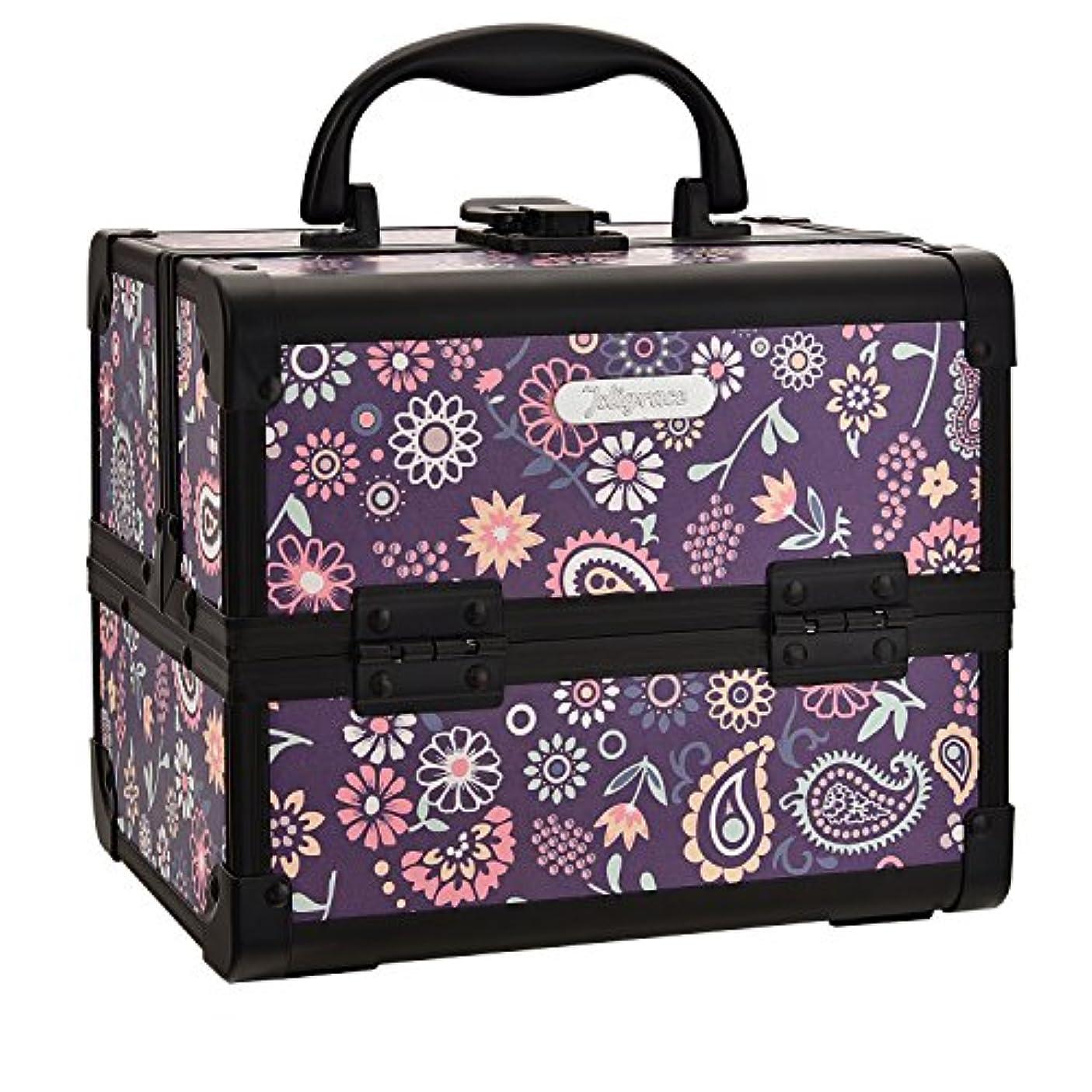 カール書くHapilife コスメボックス 鏡付き スライドトレイ メイク用品収納 プロ仕様 小型 化粧箱 ピンク(紫の花)