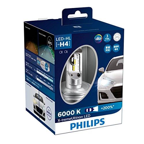 PHILIPS(フィリップス) ヘッドライト LED バルブ H4 6000K 3200/2400lm 12V 23W エクストリームアルティノン X-treme Ultinon 車検対応 3年保証 2個入り 12953BWX2JP