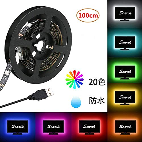 LED テープライト SunnyNight SMD 5050 RGB LEDテープ USB LEDライトバー 正面発光 100CM 5V ledテープ、広く 展示会、 舞台、 広告欄、 屋外活動、 テレビ、 衣装DIY、 夜市照明、 キャンプ、 コンピュー