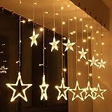 イルミネーション LEDライト カーテンライト USB 式 138球12個星 クリスマスライト クリスマス飾り 星型ライト 窓飾り 8種類パターン 防水 LED バッテリーボックス付き (電球色)