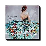 Asmork 人物 抽象画 絵画 壁掛け 装飾 手書き 油彩 油絵 モダンアート いスカートを着ている女 (30*30cm) (Blue)