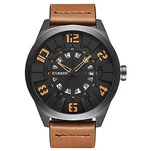 メンズ ファション ウォッチ アナログ 腕時計 レザーバンド ビッグ デザイン 時計 防水 Curren 8258G オレンジ