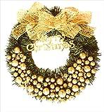 [グランローバ] クリスマスリース 玄関ドア用 おしゃれ ゴールド ボール オーナメント リボン 40 ? 小物 飾り 用品 ナチュラル オーナメント パーティー