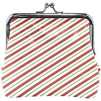 がま口 財布 口金 小銭入れ ポーチ 縞模様 赤 Jiemeil バッグ かわいい 高級レザー レディース プレゼント ほど良いサイズ