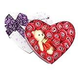 Arbeflo バラ型ソープフラワー ハートフラワー形状ギフトボックス 誕生日 母の日 記念日 先生の日 バレンタインデー 昇進 転居など最適としてのプレゼント (レッド)