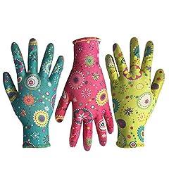 花柄手袋  ブレス コンフォートグリップ ガーデニング グローブ (3双)