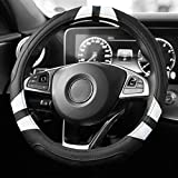 Yimobra Auto Car Leather Steering Wheel Cover with Grip Contours for Men and Women Universal 38 cm Non-slip, No smell Suitable for Every Season (Black and White)