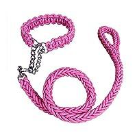 Pawstrip 大型・中型犬用リード カラフル 部分チェーン付き 4サイズ・8カラー選択 ピンク・L