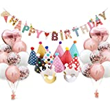 Amycute 誕生日 風船 飾り付け 紙吹雪入れバルーン HAPPY BIRTHDAY バナー ハット ハート 王冠 きらきら お祝い バースデー 装飾 30個セット (ゴールド)