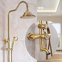 浴室シャワー蛇口セット - 純銅レトロ暖かいシャワーシャワーセット、バスルームデラックスフルレインシャワー、調節可能なスタンド、インウォール