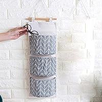 TaikaリネンHangingストレージバッグ、壁マウント3ポケットストレージバッグ、をドアのオーガナイザーストレージバッグ、壁掛け式ワードローブストレージバッグオーガナイザー