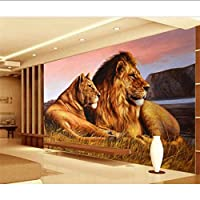 Xbwy カスタム写真の壁紙3Dライオンズ動物壁画リビングルームの寝室の背景壁絵画現代の家の装飾壁紙用壁-250X175Cm