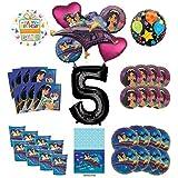 Mayflower Products アラジンとプリンセス ジャスミン 5歳 誕生日パーティー用品 8人のゲスト用デコレーションキットとバルーンブーケ ブラックナンバー5