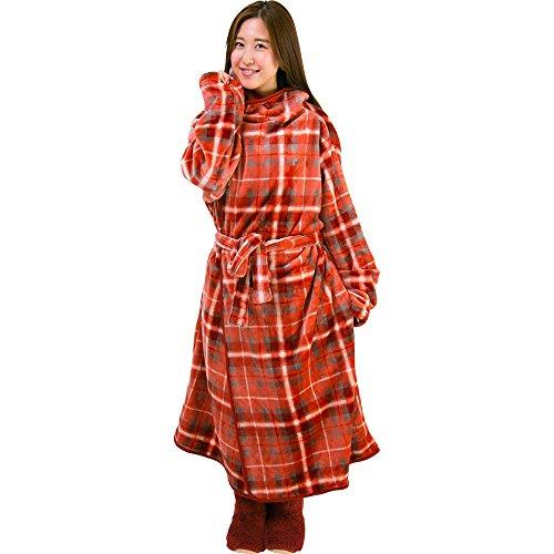 着る毛布 保温 洗える 静電気防止 とろける肌触り チェック Lサイズ 着丈170cm ピンク×レッド fondan FDRM-054