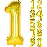 Angel&tribe 数字型風船 101.6cm/40インチ ナンバー 0~9 レーザーゴールド 誕生日パーティー飾り付け ヘリウムガス対応 ホイル マイラーバルーン 数字1 レーザーゴールド