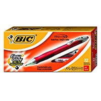 BIC Velocity Retractable Ball Pen, Refillable, Medium Point (1.0 mm), Red, 12 Pens ボールペン (並行輸入品)