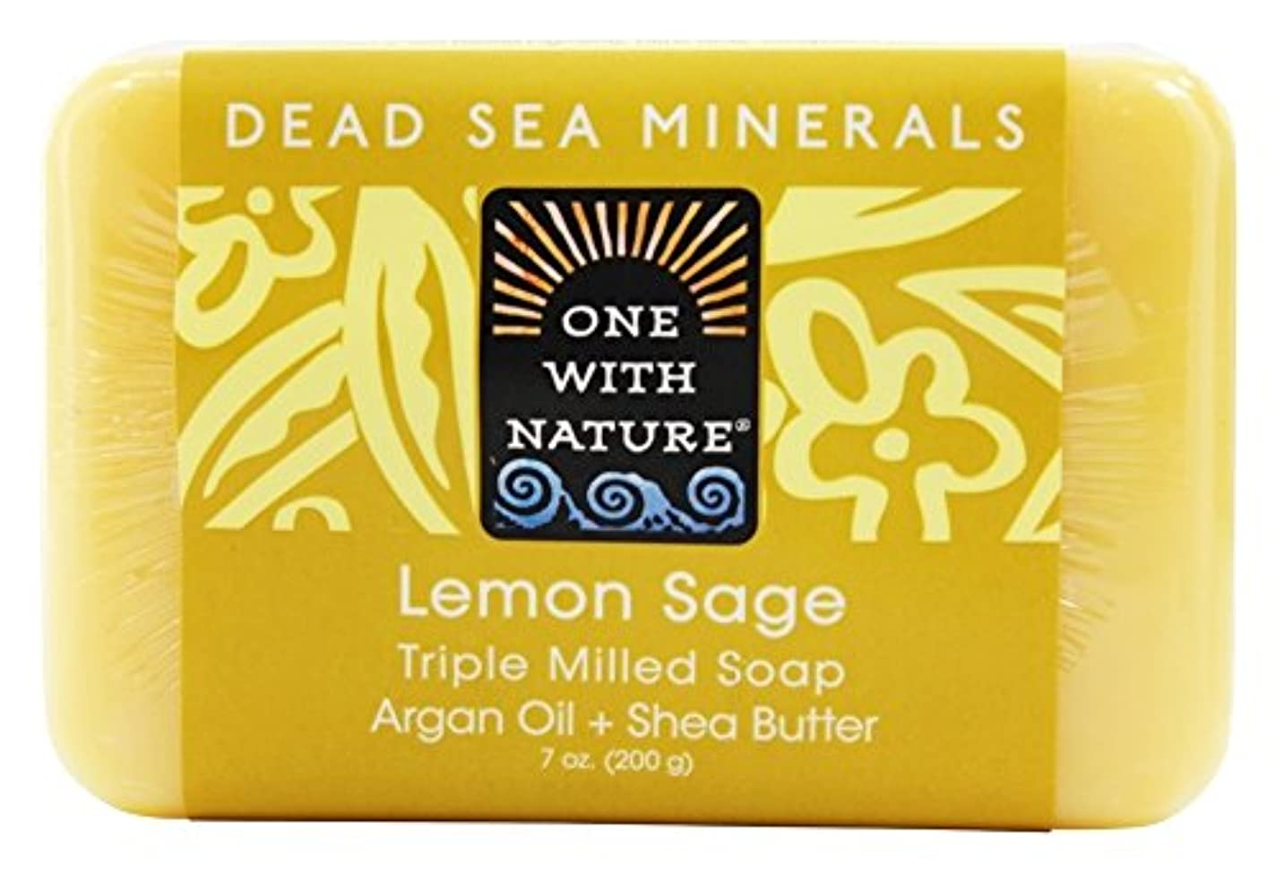不変すぐにハブブOne With Nature - 死んだ海ミネラル バー石鹸穏やかな角質除去レモン セージ - 7ポンド [並行輸入品]