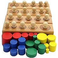 QlL MontessoriマテリアルMontessoriおもちゃ教育ゲームカラフルな円柱ソケットブロック木製数学おもちゃfor Children