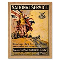 Propaganda War Wwi Britain Britannia Enlist National Service Art Print Framed Poster Wall Decor 12X16 Inch 宣伝戦争英国参加者全国ポスター壁デコ