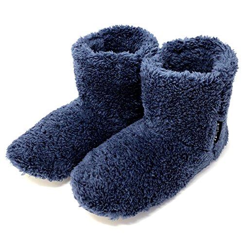 ミコラ正規品 北欧 あったか もこもこルームシューズ 【Lサイズ 24.5-27.0cm】 Mサイズもあります 寒い台所でもホカホカ暖かい 足首まですっぽり 冬用 防寒 ボアブーツ スリッパ【ネイビー】