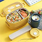 St. Lun 304 Stainless Steel Insulated Lunch Box Thermal Bento Box Fast Food Tray With Lid Leakproof Portable Canteen Meal Box