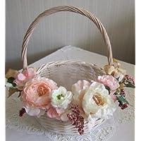 アートフラワーバスケットM 直径約25cm【結婚式 ウェディング プチギフト用 花かご アーティフィシャルフラワー】