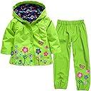 YFS レインコート 上下セット レインウェア キッズ 子供用 防水 防寒 スキー服 アウターウェアー 90-130cm (緑, 120cm)