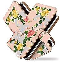 【KEIO】らくらくスマートフォンme F-03K 手帳型 ケース カバー 花 バラ 花模様 薔薇 らくらくフォンme f03kケース らくらくフォンme f03kカバー らくらくフォン らくらくホン 手帳型ケース 手帳型カバー 花柄 フラワー [水彩 ローズ ピンク/t0626]